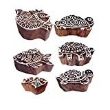 Royal Kraft Handgemacht Muster Schildkröte und Fisch Holz Blöcke Stempel (Set von 6)