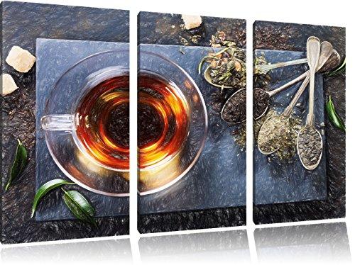 Hot erbe Bunstift effetto immagine Canvas 3 PC 120x80 immagine sulla tela, XXL enormi immagini completamente Pagina con la barella, stampe d'arte sul murale cornice gänstiger come la pittura o un dipinto ad olio, non un manifesto o un banner, - Arancione Menta Dell'erba