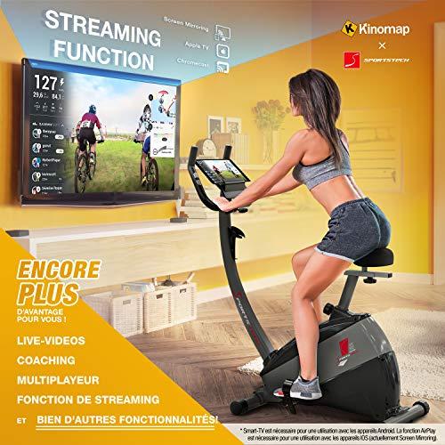 """Sportstech Remise de pré-Commande Vélo d'Appartement ergomètre ESX500, Vidéos Live et multijoueur APP + écran 5,5"""", Poids d'inertie 12KG, Compatible avec la Ceinture pulsée Entraînement"""