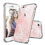 MOSNOVO iPhone 6 Hülle, iPhone 6s Case, Henna Mandala Blumen Weiß Muster Transparent TPU Bumper mit Hart Plastik Durchsichtige Schutzhülle für Apple iPhone 6 6s (4,7 Zoll) (Floral Lace)
