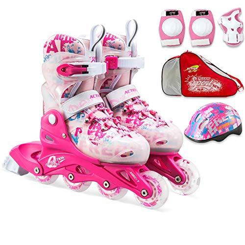 Inline Skates Einstellbare, Professionelle Einreihige Skates Für Kinder, Rollschuhe Für Männliche Und Weibliche Anfänger, Pink Und Blau (Color : Pink, Size : S (EU 30-33))