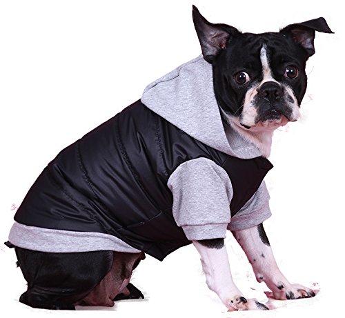 Doggy Dolly W109 Hundejacke Wasserabweisend mit Kapuze, schwarz/grau, Wintermantel/Winterjacke, Größe : XXS - 3