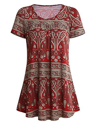 Ehpow Damen Sommer Kurzarm Rüschen Bluse T-Shirts Casual Floral Gedruckt Tunika Tops (Small, Rot) -