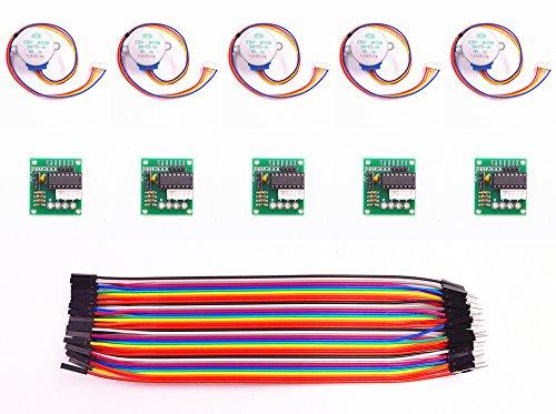 Preisvergleich Produktbild JZK® 5 Sets von 28BYJ-48 5V Schrittmotor Step Motor + ULN2003 Driver Board + Dupont Wire 40pin Männlich zu Female Breadboard Jumper Drähte kabel, für Arduino Raspberry Pi