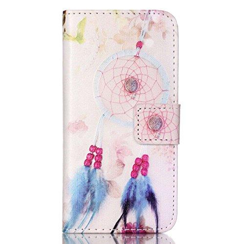 HB-Int 3 in 1 Custodia per Apple iPhone 5C Borsa in Pelle Cover Colorato Pattern Chiaro Shell Custodia Protettiva Portafoglio Stand Case Book Style con Carte di Credito Copertura Magnetico Flip Wallet Campanula