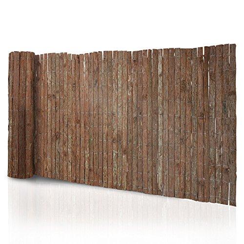 Premium Rindenmatte | doppellagig, beidseitig dekorativ | viele Größen | natürlicher Sichtschutz aus echter Rinde | Zaun Verkleidung und Windschutz für Garten, Terrasse und Balkon (100x300 cm, HxB)