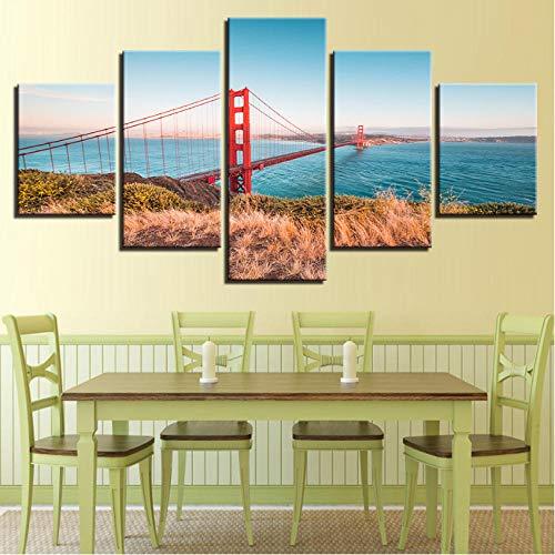 TableauxSurToileCinqPièce Mur Art Impressions Sur Toile Illustration Modulaire Peinture Décor 5 Panneau Le Golden Gate Bridge Moderne Image Cadre Pas Cher Affiche-30x40cmx2 30x60cmx2 30x80cmx1
