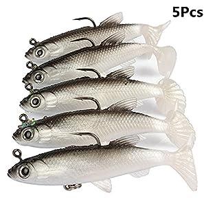 YIYI Fishing Lure Set, 5Pcs 8cm Soft Bait Lead Head Sea Fish Lures Fishing Tackle Sharp Treble Hook T Tail Artificial Bait by YIYI
