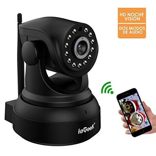 ieGeek Cámara IP, cámara de Seguridad con720P HD visión Nocturna, Camara de vigilancia para Vivienda,Dos Modos de Audio,detección de Movimiento,Soporta 64G Tarjeta SD,Negro