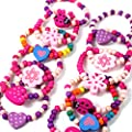 12 Bracelets Colourful Wooden Jewellery Girls Bracelets Christmas and Birthday Party Bag Stocking Filler Loot : everything £5 (or less!)