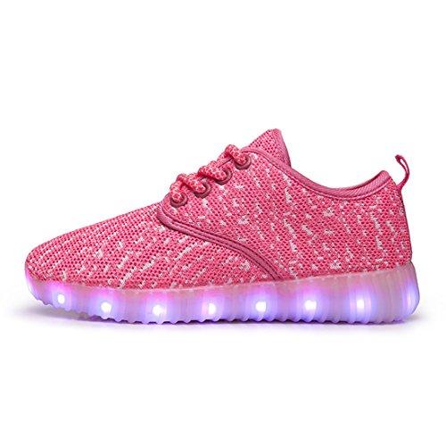 O&N LED Schuhe USB Aufladen Leuchtend Mesh Sport Schuhe schnürsenkel Sneakers Netzschuhe für Unisex Kinder Rosa