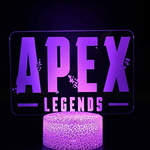 Aoyuhf Apex Logo Weiße Basis 3D Illusion Nachtlicht Tisch Schreibtisch Schlafzimmer Nachttischlampe Dekoration Usb 7 Farbwechsel Stimmung Lampe -