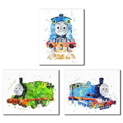 BigWig Prints Thomas und Friends Watercolor Zug Prints-Set von Drei 8x 10, Wand Art Decor Fotos-Thomas The Tank-Percy die Kleine Engine (Thomas Der Zug-bild)