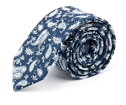 GOOD.designs Herren Slim-Fit Krawatte, handgenäht aus Baumwolle in verschiedenen Farben - schmale Baumwoll-Krawatte Paisleys blau, Skinny & Silk Ties (Skinny Tie Blaue)