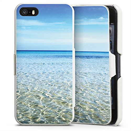 Horizont-garne (Apple iPhone 5s Lederhülle Handyhülle mit Klappe Klappfunktion Flip Case Horizont Meer Mer)