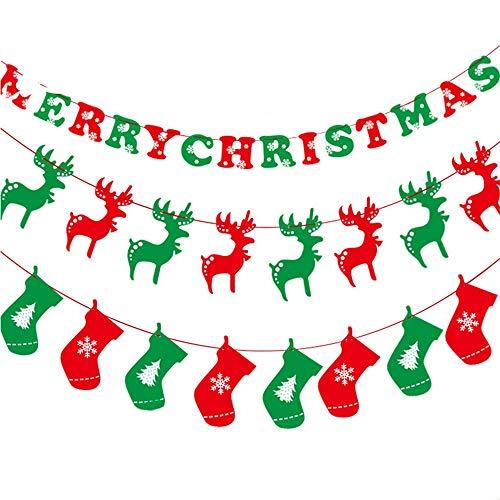 Cvbndfe Gute Qualität Frohe Weihnachten Girlanden Banner Zeichen für Urlaub Dekoration Weihnachten Party Favors. (Farbe : Mehrfarbig)