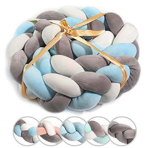 SXYHKJ Cuscino Intrecciato Nodo Paracolpi per Letto Treccia, Baby Intrecciato Culla Decorative e Protezione per Bambini e per Lettino e Culla (200CM, Bianco + grigio + blu)