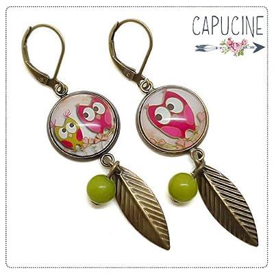 Boucles d'oreilles pendantes avec cabochon hiboux - Boucles d'oreilles hiboux - Jolies Chouettes