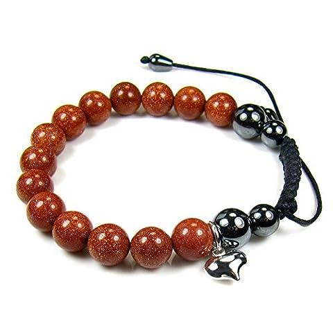 Sienna Rouge Goldstone Rouge Bracelet Argent 925/1000–Coeur Bijoux Boîte Cadeau Forme de cœur Plusieurs longueurs 19cm