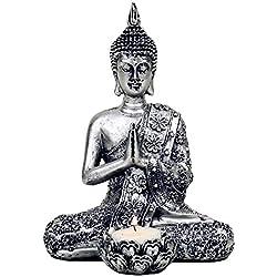 Detalles de Buda con portavelas de - de colour plateado