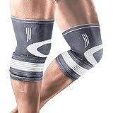 Liveup SPORTS Kompression Knie Stützstrebe mit verstellbaren Trägern Elastic Bandage für Arthritis Gelenkschmerzen und Verletzungen Recovery LS5676-S size