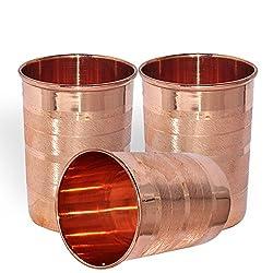 Daksh craft Handmade Pure Copper Tumbler Glass, Set Of 3