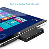 Surface Pro Hub Adapter / Kartenleser, High Speed USB 3.0 Transport und USB 2.0 für Maus oder Tastatur mit SD (HC) Karte