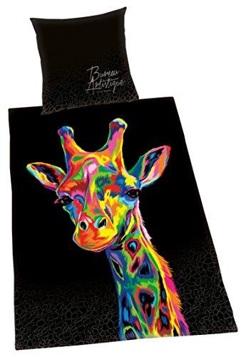 Herding Bettwäsche-Set Bureau Artistique Giraffe, Satin, Mehrfarbig, 200 x 135 cm (Bettwäsche Giraffe)