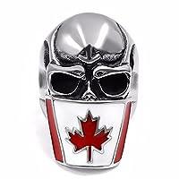 Elfasio Mens Stainless Steel Ring Canada Flag Mask Skull Biker Jewelry