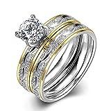18K Weiß Gold Edelstahl Ring mit Zirkon tgr063-a-7