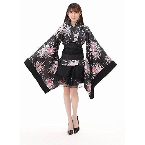 Damen Festival Cosplay Lolita Japan Kimono Maid Outfit Rock Kleid Set Schwarz XL