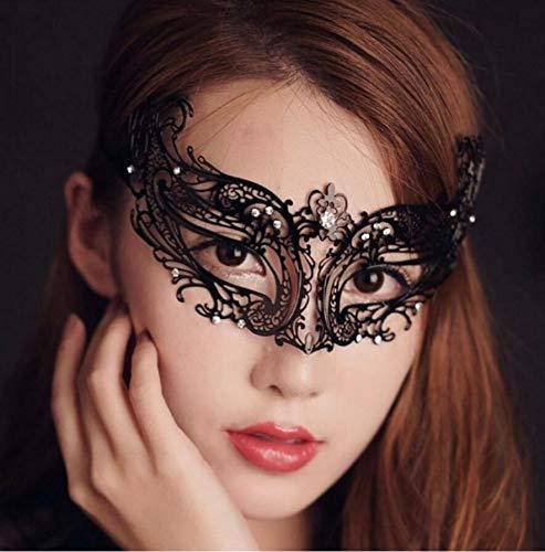 Anyeat Maskenball Maske, Gemütlich Metall Venezianische Masken Damen Schwarz, Abschlussball Party Maske ()