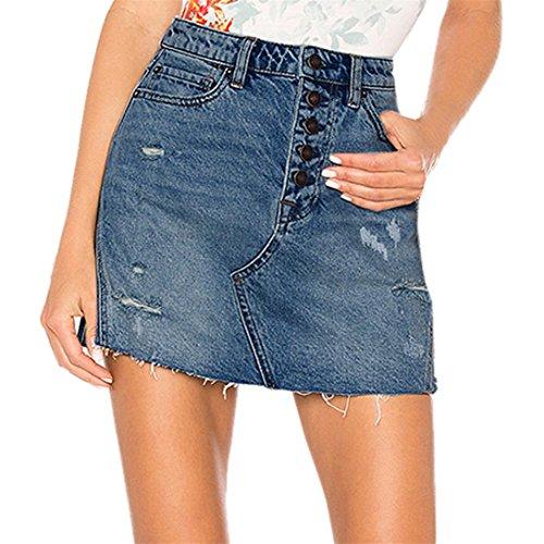 Kword donna blu denim jeans shorts,casual buco estate bottone corto mini gonna pantaloncini corti denim spiaggia donna gonna in jeans con bottoni (blu, s)