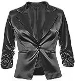 Eleganter Damenblazer Blazer Baumwolle Jäckchen Business Freizeit Party Jacke in 26 Farben 34 36 38 40 42, Farbe:Schwarz Metallic;Größe:XL-42