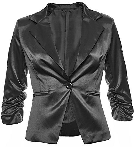 Eleganter Damenblazer Blazer Baumwolle Jäckchen Business Freizeit Party Jacke in 26 Farben 34 36 38 40 42, Farbe:Schwarz Metallic;Größe:XL-42 (Lange Sakkos Damen)