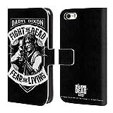 Head Case Designs Offizielle AMC The Walking Dead RPG Schwarz Weiss Daryl Dixon Biker Kunst Brieftasche Handyhülle aus Leder für iPhone 5 iPhone 5s iPhone SE