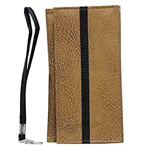 Jo Jo A5 S Series Leather Wallet Universal Pouch Cover Case For Sony Xperia ZL Tan Black