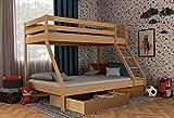Etagenbett für Kinder mit Bettkasten, Stockbett für Erwachsene, Doppelstockbett 140x200 inkl. Lattenrost und Absturzsicherung (Natur, Mit Schubladen)