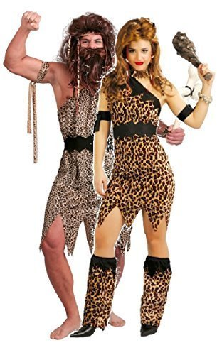 Höhlenmädchen Höhlenmensch Prähistorisch Neandertaler Velvet Leopardenmuster Tarzan Dschungel Jane Kostüm Verkleidung Outfit - Braun, Mens Large & Ladies UK 14-18 (Tarzan Jane Kostüm)