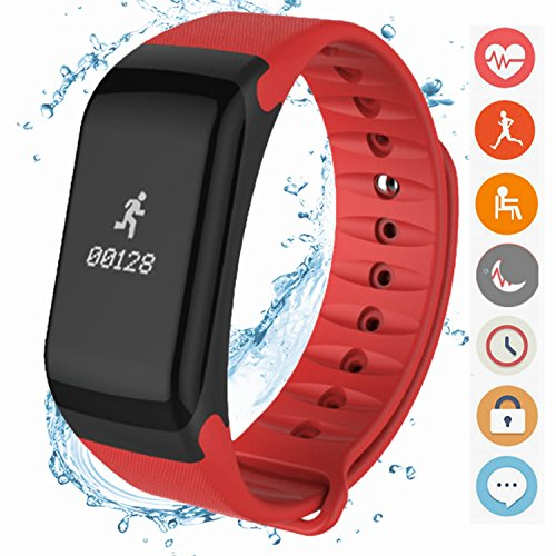 Photo Gallery canmixs fitness tracker, cf01 activity tracker smart braceler con cardiofrequenzimetro, contapassi, calorie sleep monitor, impermeabile smartwatch per iphone x/8/7/6s/6, samsung, huawei (rosso)