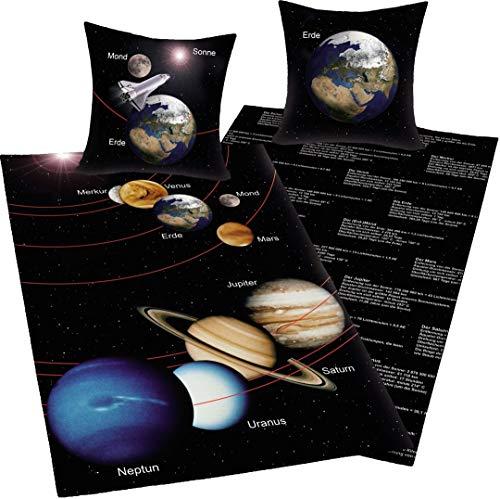 Bavaria Home Style Collection - Weltraum Wende- Bettwäsche Sonne Mond Erde Jupiter - Mehrfarbig braun schwarz ca 140 x 200 + 70 x 90 cm für Österreich|
