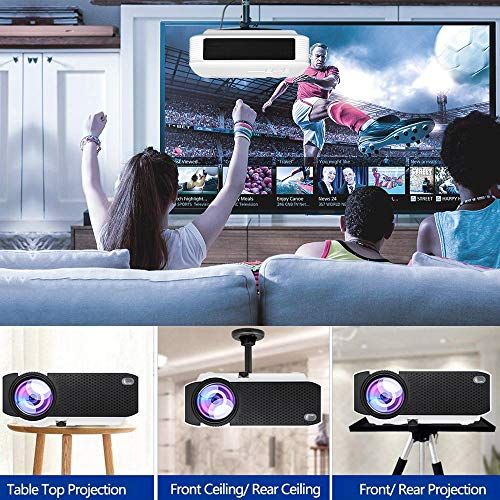 WiFi Projector 2800Lux, Weton Portable Mini Projector 1080P HD WiFi Movie Projector 175'' Display Led Wireless Video Projector, Compatible with Smartphones, Fire TV Stick, PS4, HDMI, VGA, AV, USB