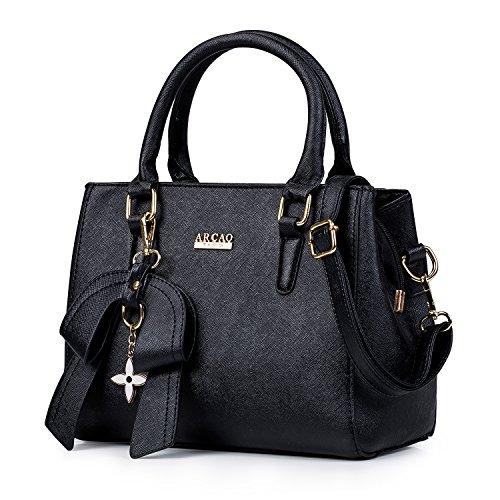 MINICE Damen Handtasche Heiße Elegante Tasche-Leder Schultertasche Handtaschen Umhängetasche Mit Bogen Anhänger(Schwarz)