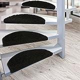 Kit de 15 marchettes d'escalier casa pura® Sphinx à poil long | amortissantes et résistantes | noir...