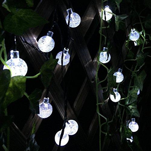 InnooTech 30er 6m Solar Kugel Lichterkette Aussen Kristall Globe Wetterdicht Als Solar Beleuchtung Gartendekoration, LED Lichterkette Draussen 30 LED, Lichterkette Outdoor, LED
