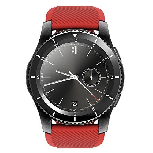 Qimaoo – Multifunktionelle Fitness-Armbanduhr – unterstützt Bluetooth 4.0,wasserdicht, mit SIM-Card-Slot für iOS-Smartphones / Samsung S5/Note 3/4/5 / Nexus / HTC / Sony / Huawei und weiteren Android-Smartphones, rot