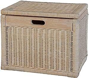 korb mit deckel rattan geflochten farbe vintage wei regalkorb aufbewahrungsbox. Black Bedroom Furniture Sets. Home Design Ideas