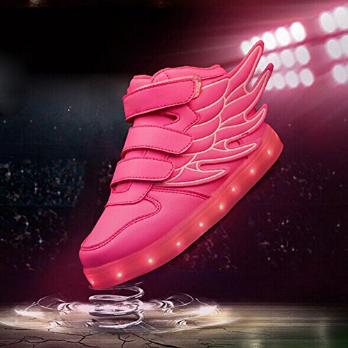 iBaste Kinderschuhe LED Sportschuhe Kinder mit Flügel USB Aufladen 7 Lichtfarbe LED Leuchtend Sport Schuhe PU Sneaker Turnschuhe für Kinder Jungen Mädchen 4 Farbe Pink