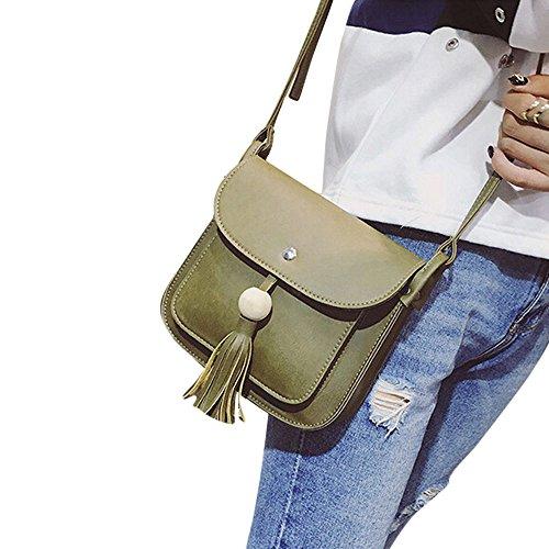 Longra Pelle modo delle donne nappe borsa a tracolla a spalla Verde