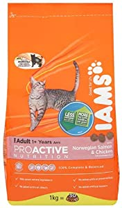 Iams Adult Salmon Dry Cat Food 1 Kg Pack Of 4 from Procter & Gamble